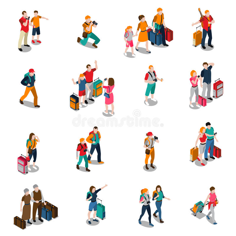 Reise-Leute-isometrische Ikonen vektor abbildung