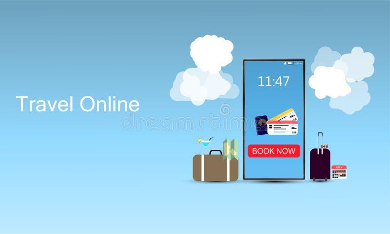 Reise-on-line-Entwurfs-Schablone, E-Karten-Konzept, Buchungskarte auf Smartphone, verwendet für InfoGraphic, Netzwerbung lizenzfreie abbildung