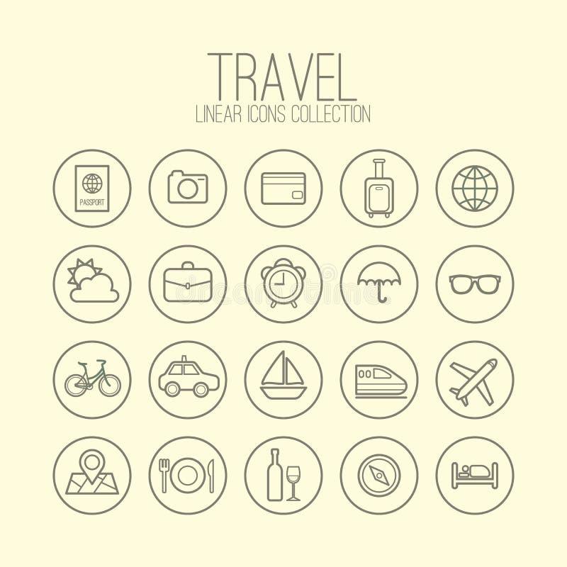 Reise-lineare Ikonen stock abbildung