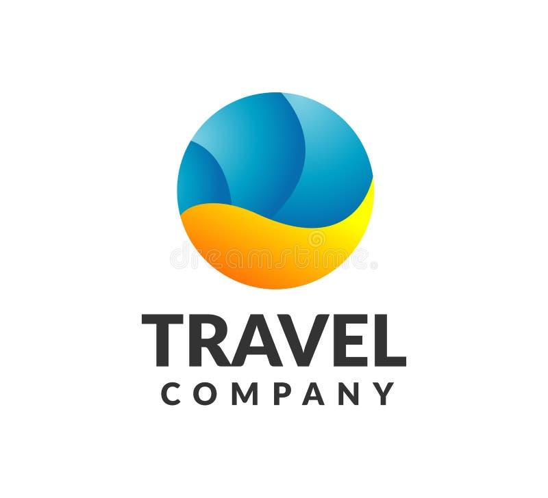 Reise-Logo Einfach zu bearbeiten Reise, Feiertagslogo Vektor flüchtig Feiertagsikone Wellen-Logo Meer, Strand, Ozeanlogo lizenzfreie stockfotos
