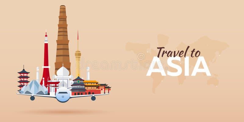 Reise nach Asien Flugzeug mit Anziehungskräften Stellen Sie für Sie Auslegung ein Flache Art vektor abbildung