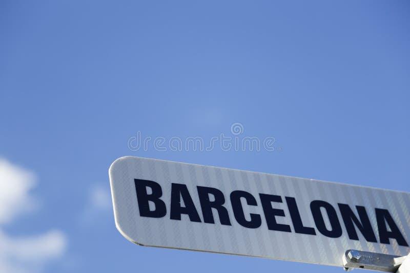 Reise nach Barcelona! Barcelona-Straßenschild für Spanien-toursim stockbild
