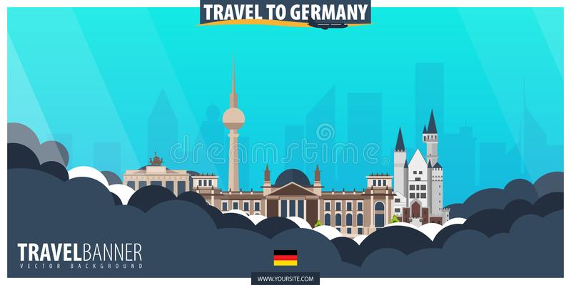 Reise nach Deutschland Reise und Tourismusplakat Vektor flaches illust lizenzfreie abbildung