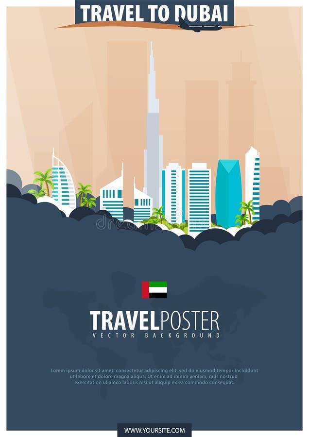 Reise nach Dubai, UAE Reise und Tourismusplakat Vektor flach krank stock abbildung