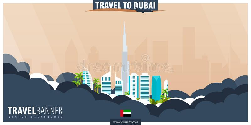 Reise nach Dubai Reise und Tourismusplakat Vektor flaches illustra lizenzfreie abbildung