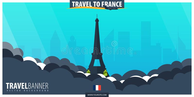 Reise nach Frankreich Reise und Tourismusplakat Vektor flaches illustr stock abbildung