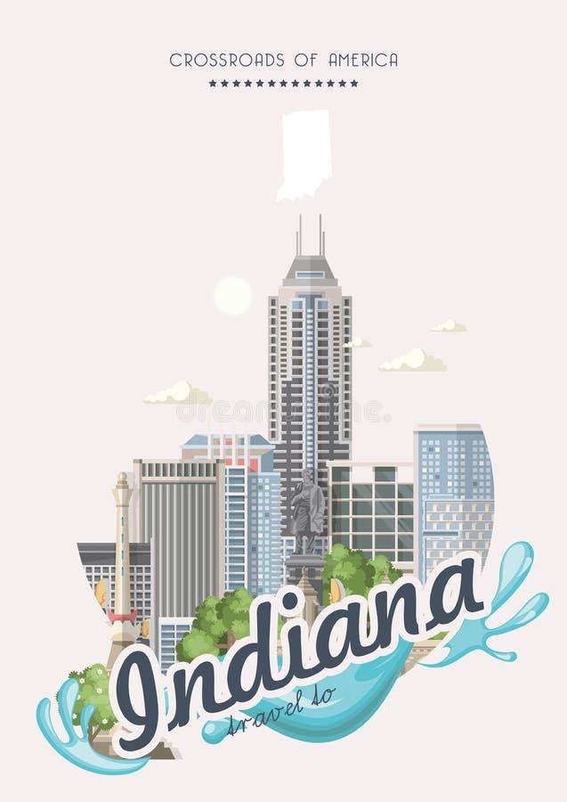 Reise nach Indiana Staaten von Amerika Kreuzungen von Amerika Postkarte von Indianapolis Reisevektor lizenzfreie abbildung