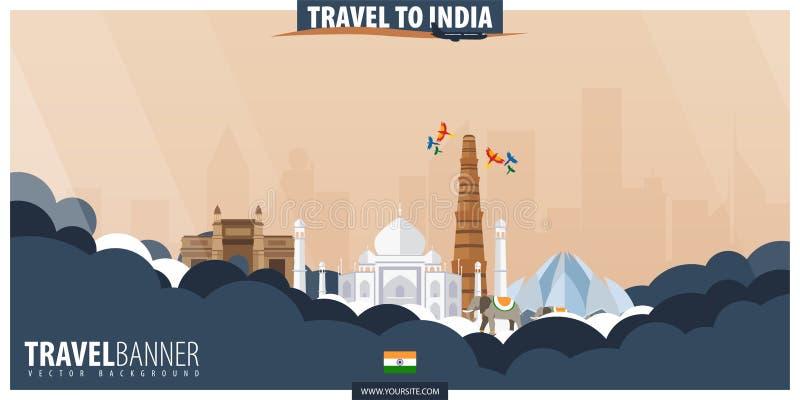 Reise nach Indien Reise und Tourismusplakat Vektor flaches illustra stock abbildung
