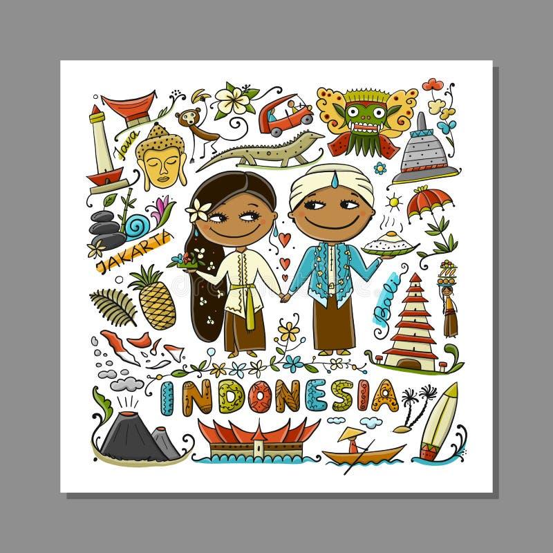 Reise nach Indonesien Grußkarte für Ihr Design stock abbildung