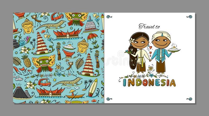 Reise nach Indonesien Grußkarte für Ihr Design lizenzfreie abbildung