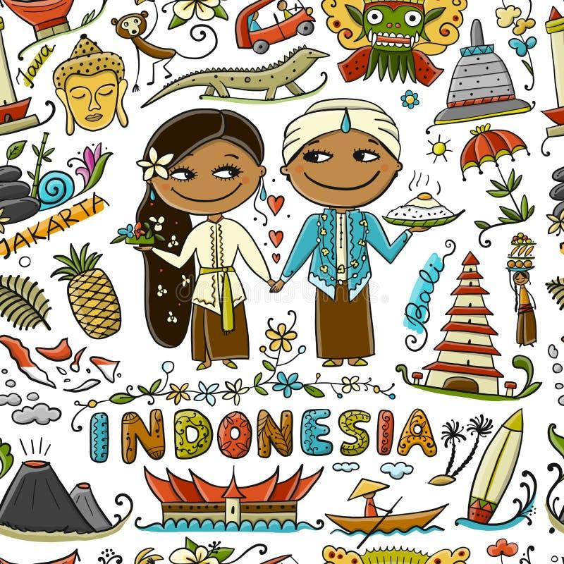 Reise nach Indonesien Nahtloses Muster für Ihre Auslegung lizenzfreie abbildung