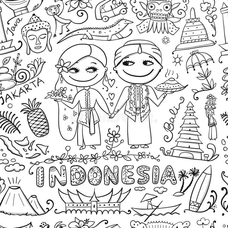 Reise nach Indonesien Nahtloses Muster für Ihre Auslegung vektor abbildung