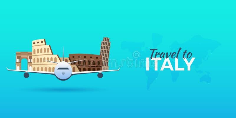 Reise nach Italien Flugzeug mit Anziehungskräften Stellen Sie für Sie Auslegung ein Flache Art lizenzfreie abbildung