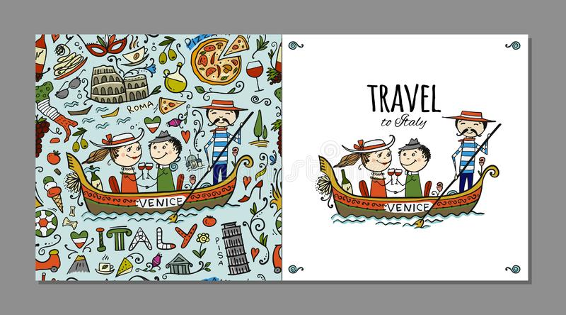 Reise nach Italien Grußkarte für Ihr Design stock abbildung