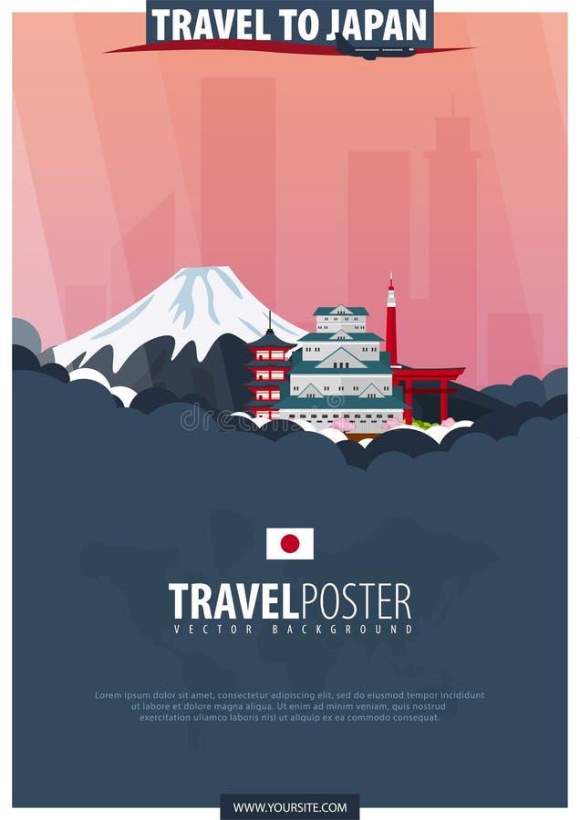 Reise nach Japan Reise und Tourismusplakat Vektor flaches illustra stock abbildung