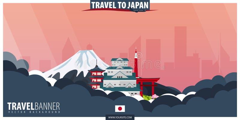 Reise nach Japan Reise und Tourismusplakat Vektor flaches illustra lizenzfreie abbildung