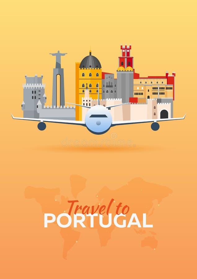 Reise nach Portugal Flugzeug mit Anziehungskräften Stellen Sie für Sie Auslegung ein Flache Art stock abbildung