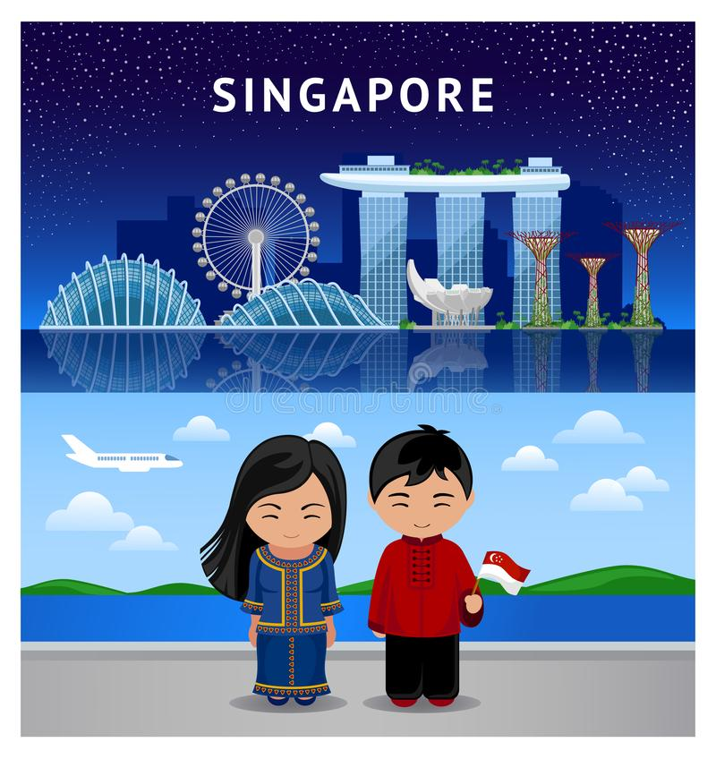 Reise nach Singapur stock abbildung