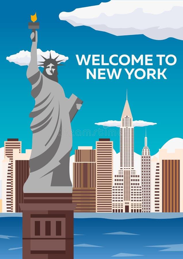 Reise nach USA, New York Plakatskyline Willkommen nach New York Freiheitsstatue u Auch im corel abgehobenen Betrag lizenzfreie abbildung