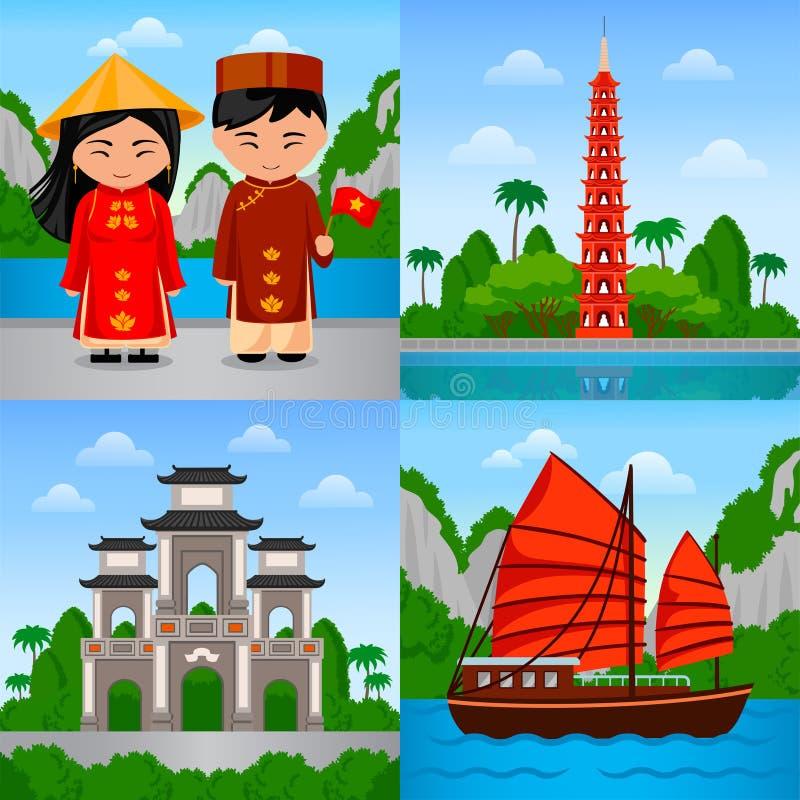 Reise nach Vietnam Vietnamesische Leute im Nationalkostüm vektor abbildung