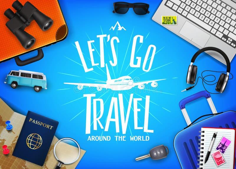 Reise-oder Tourismus-Konzept mit Text ließ uns gehen Reise-Mitteilung in der Mitte mit dem realistischen Reisen 3D vektor abbildung
