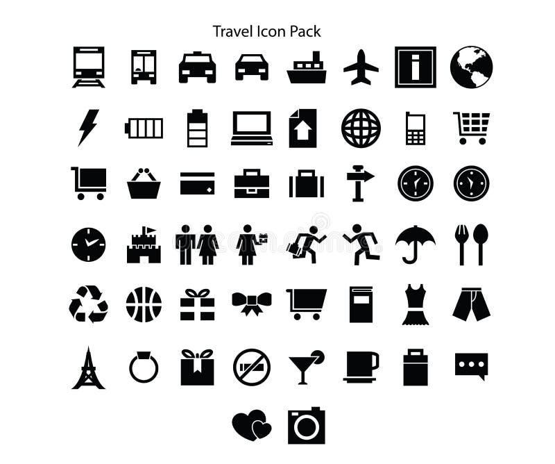 Reise-Reihe Ikonen-Satzentwurf lizenzfreie abbildung