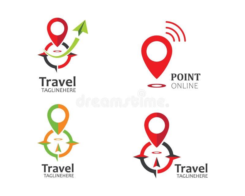 Reise, Reisebüro-Logoikonen-Illustrationsvektor vektor abbildung