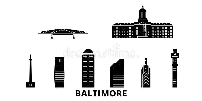 Reise-Skylinesatz Vereinigter Staaten, Baltimore flacher Schwarzstadt-Vektorillustration Vereinigter Staaten, Baltimore, Symbol lizenzfreie abbildung