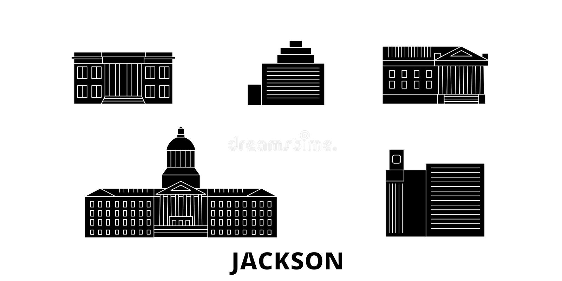Reise-Skylinesatz Vereinigter Staaten, Jackson flacher Schwarzstadt-Vektorillustration Vereinigter Staaten, Jackson, Symbol, Reis stock abbildung