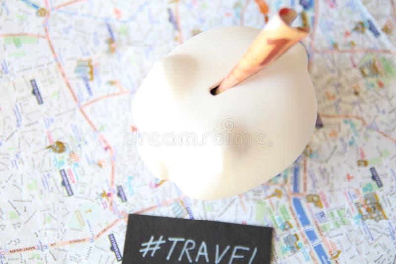 Reise-Sparschwein lizenzfreies stockbild