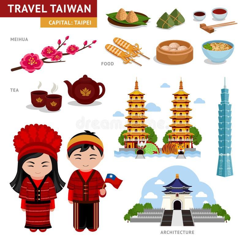Reise in Taiwan Taiwanese in den nationalen Kostümen vektor abbildung