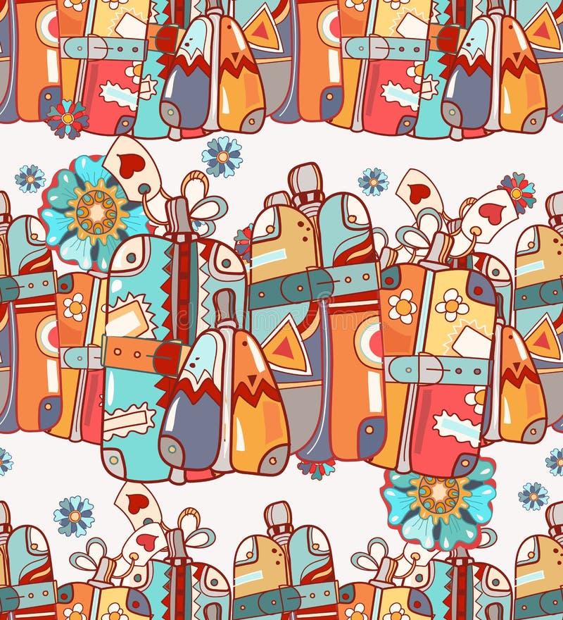 Reise-Taschen und Koffer, Vektor-Hand gezeichneter Illustrations-Satz lizenzfreie abbildung