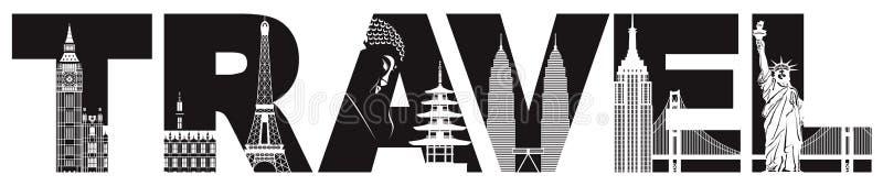 Reise-Text-Entwurf mit Weltmarksteinen vector Illustration lizenzfreie abbildung