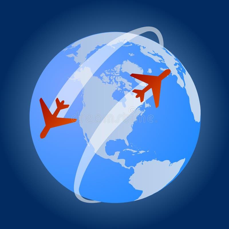 Reise um die Welt mit Flügen stock abbildung