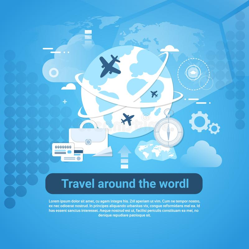 Reise um Weltnetz-Fahne mit Kopien-Raum auf blauem Hintergrund stock abbildung