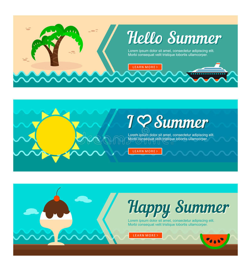 Reise- und Ferienvektorfahnen lizenzfreie abbildung