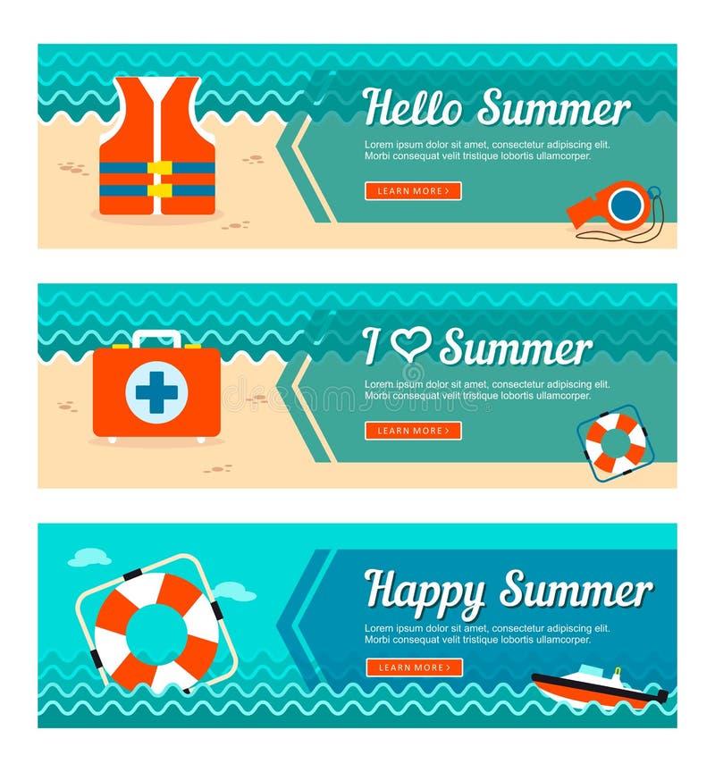 Reise- und Ferienvektorfahnen stock abbildung