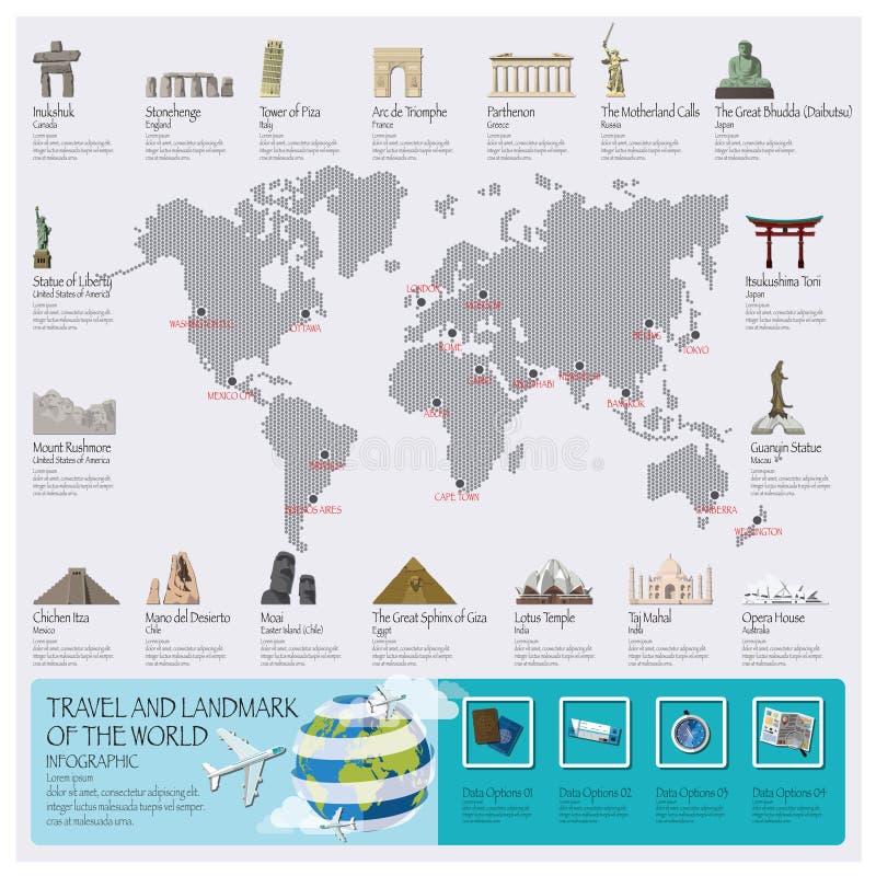 Reise-und Reise-Markstein der Welt Infographic vektor abbildung