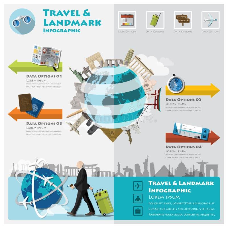Reise-und Reise-Markstein Infographic lizenzfreie abbildung