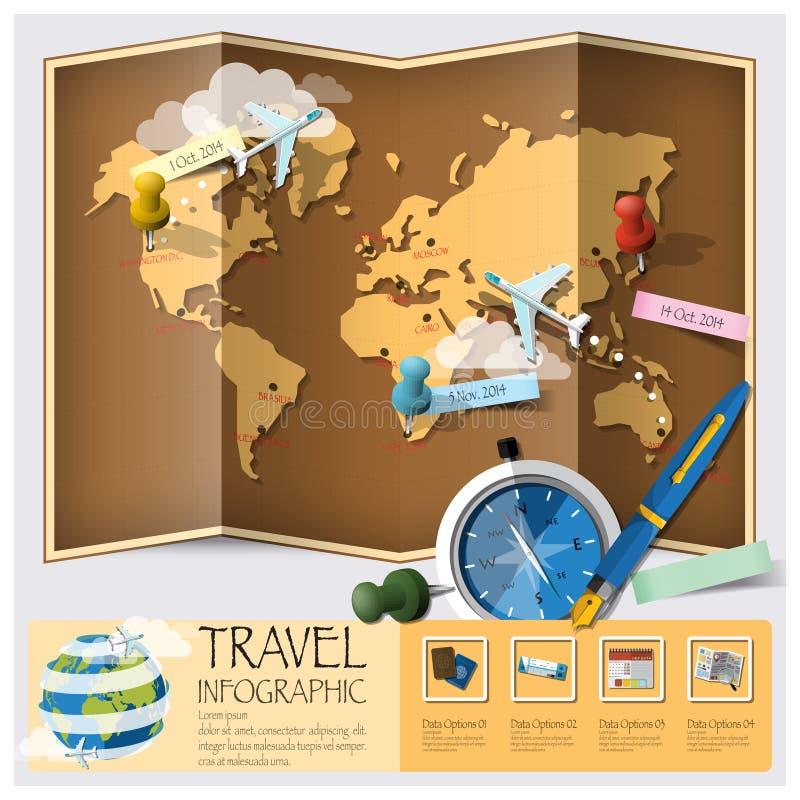Reise-und Reise-Weltkarte Infographic stock abbildung