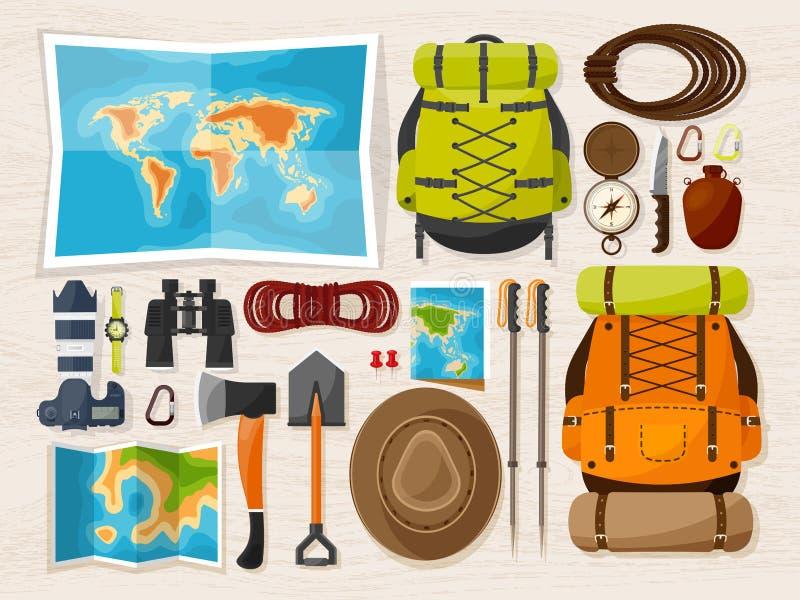 Reise und Tourismus Flache Art Welt, Erdkarte Kugel Lösen Sie aus, bereisen Sie, reisen Sie, Sommerferien Reisen, erforschend lizenzfreie abbildung