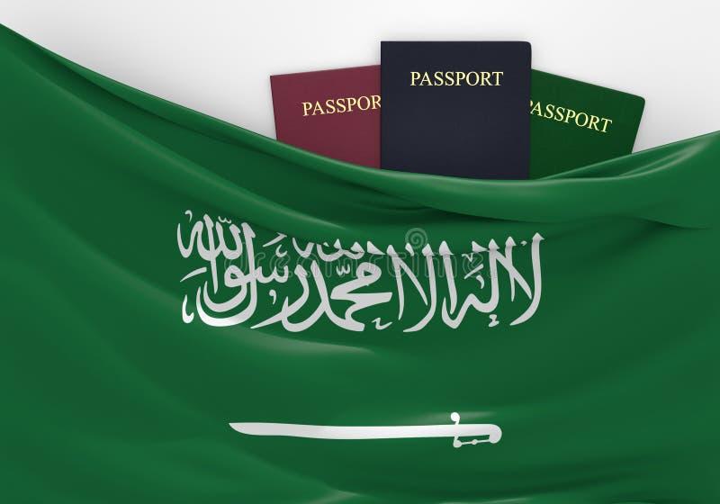 Reise und Tourismus in Saudi-Arabien, mit sortierten Pässen lizenzfreie abbildung