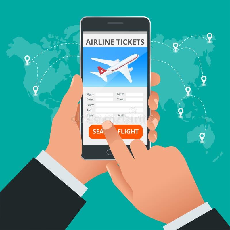 Reise- und Tourismushintergrund Kaufende oder buchende on-line-Flugtickets Reise, Geschäftsflüge weltweit Flaches 3d vektor abbildung