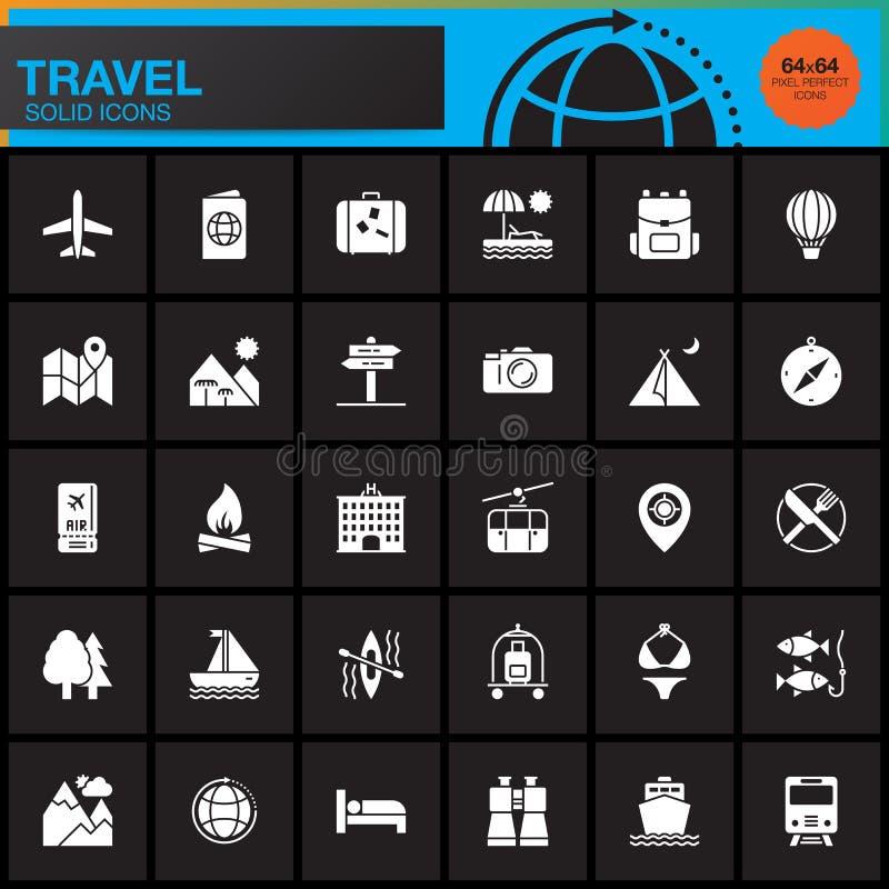 Reise- und Tourismusvektorikonen eingestellt, moderne feste Symbolsammlung, Piktogrammsatz lokalisiert auf Schwarzem lizenzfreie abbildung