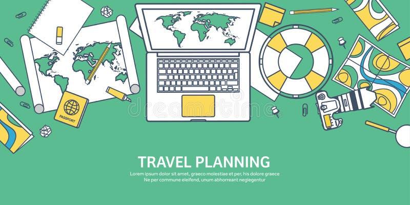 Reise- und Tourismusvektorillustration in der flachen Linie Entwurfsart Reisen und Welterforschung Abenteuerexpedition stock abbildung
