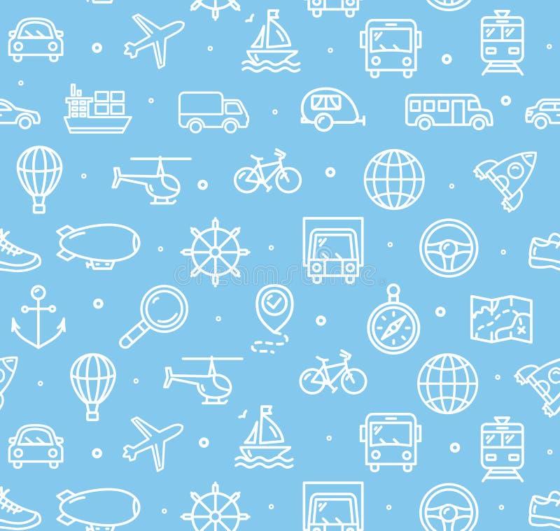 Reise-und Transport-Hintergrund-Muster Vektor lizenzfreie abbildung