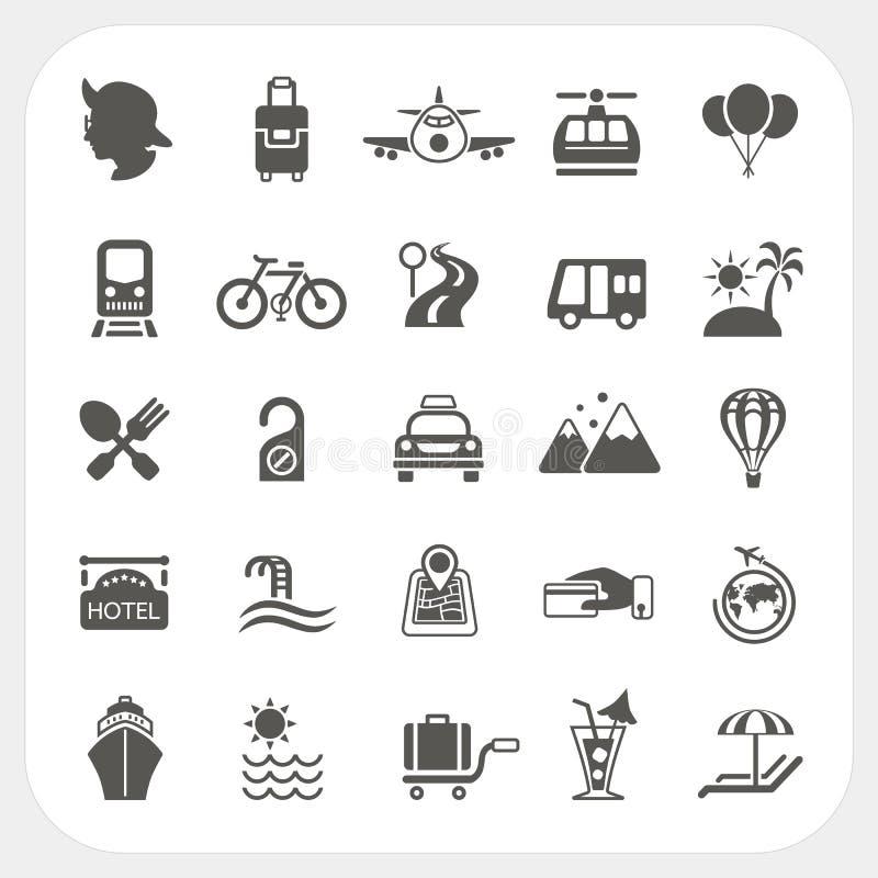 Reise- und Transportikonensatz stock abbildung