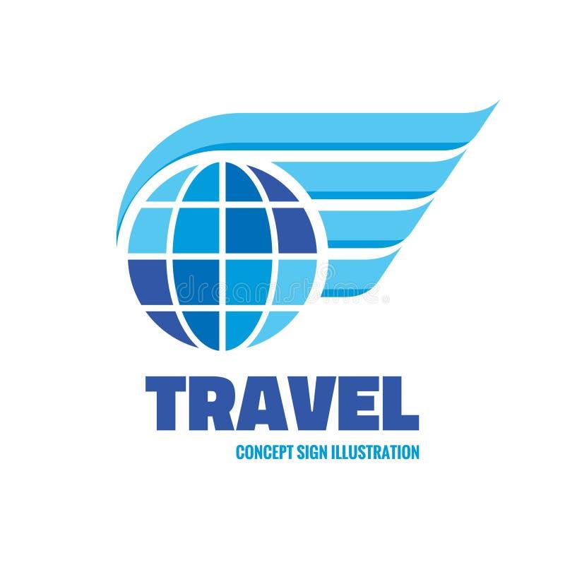 Reise - Vektorlogoschablonen-Konzeptillustration Kugel mit kreativem Zeichen der Flügel Vektorbild, Abbildung stock abbildung