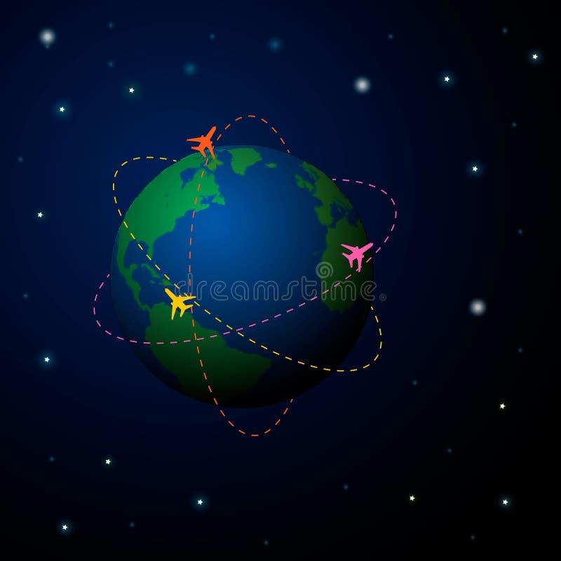 Reise-Weltkartehintergrund mit Draufsichtflugzeug Taube als Symbol der Liebe, pease stock abbildung