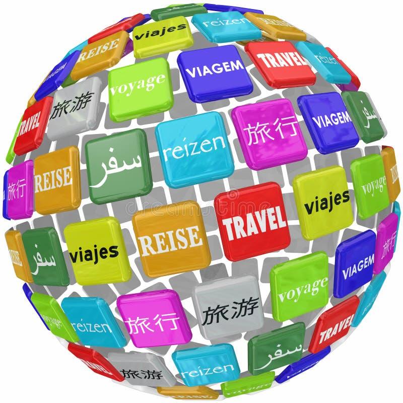 Reise-Wort-Übersetzungs-unterschiedliche globale Sprachkultur-Welt lizenzfreie abbildung